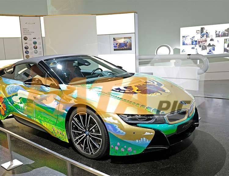 Colorful BMW i8 in BMW museum, Munich, Germany